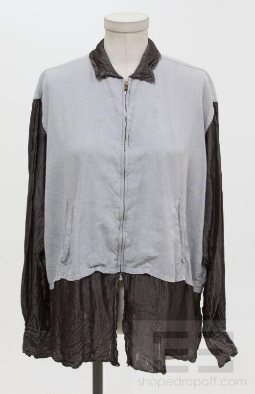 Comme des Garcons Shirt Light Gray & Brown Shimmer Zip Up Shirt Size