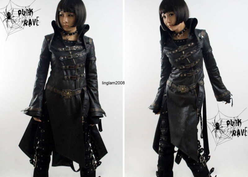 Shop Visual Kei Punk Cosplay Gothic Cyber long Jacket Black