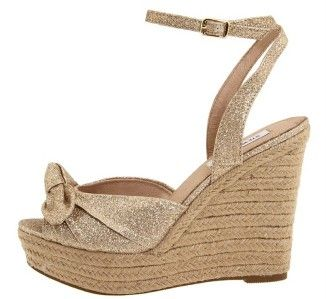 Women;s Shoes NIB Steve Madden GLISEN Espadrille Platform Wedge Gold