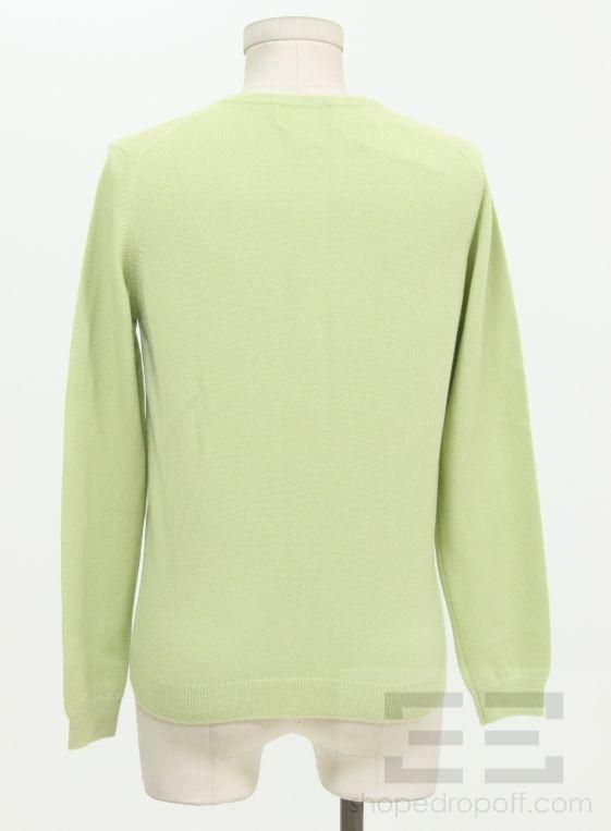 Light Green Cashmere Long Sleeve Cardigan Size Small