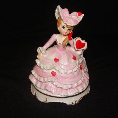 Vintage Lefton Lady Girl Music Box Valentine Day Heart