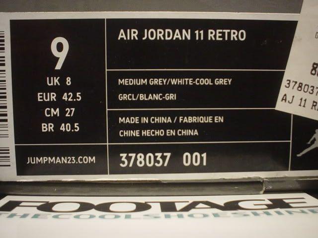 2010 Nike Air Jordan XI 11 Retro MEDIUM GREY WHITE COOL GREY PATENT