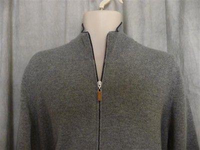 Brunello Cucinelli gray cashmere cardigan zip front  52/L; Rtl $800