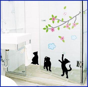 TREE CAT WALL PAPER DECAL MURAL VINYL ART STICKERS #182
