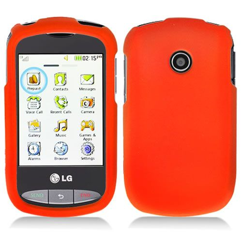 Tracfone LG 800G Net10 Orange Rubberized Hard Case Cover +Screen
