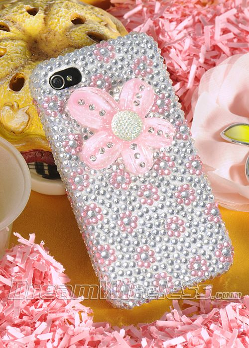 Apple iPhone 4G 4GS Pink Flower Silver Diamond Case