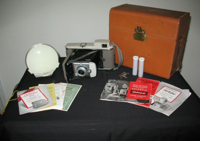Vintage Polaroid Land Camera Model 80A with Accessories