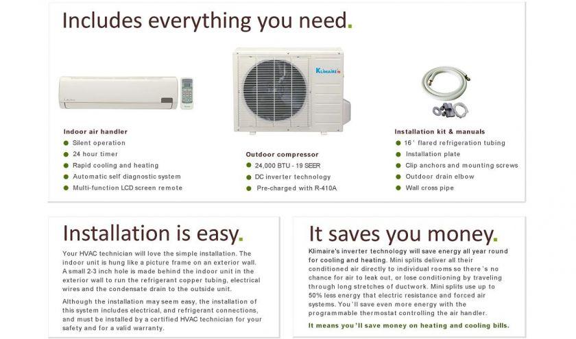 Ductless Mini Split Air Conditioner Heat Pump 24000 BTU 2 Ton 24,000